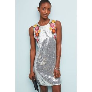 Varon Bahl Anthropologie Silver Sequin Shift Dress